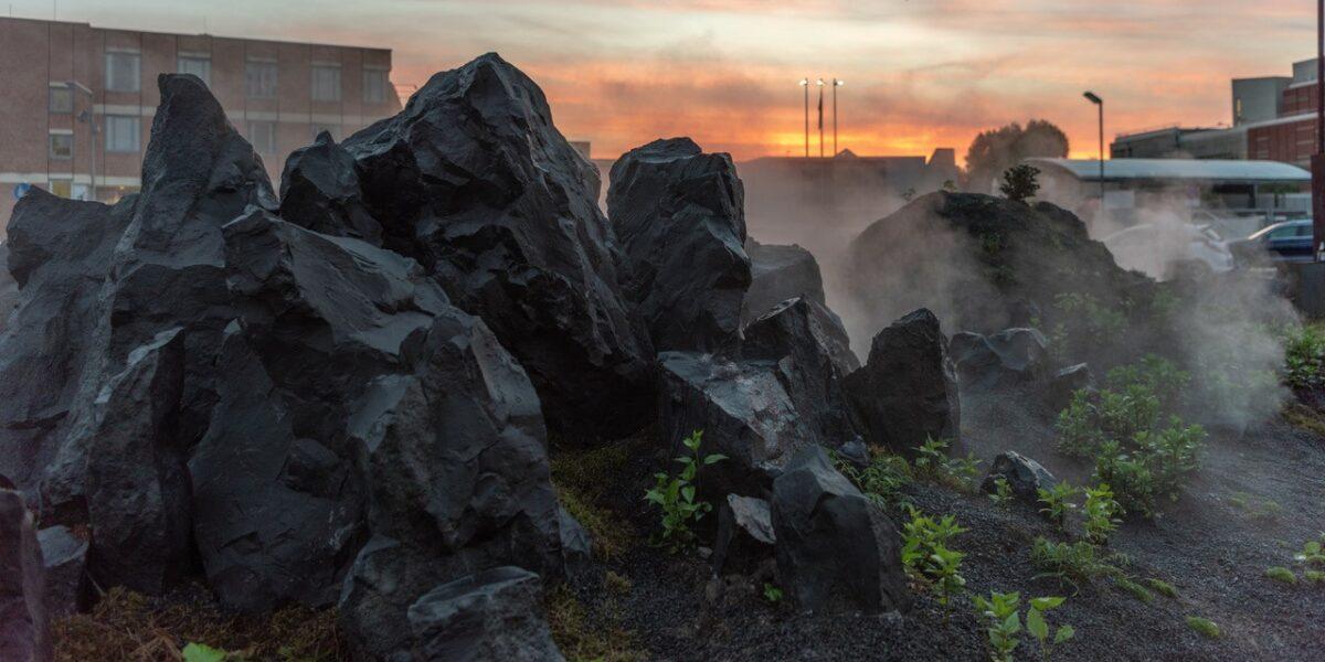 Blick auf die Gesteinformation bei Sonnenuntergang