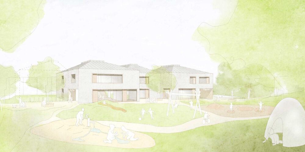 Visualisation of the garden side of the daycare center Denkendorf